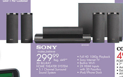 Sony 3D Blu-ray Home Theater System (Model #BDVE580)(Friday Only)