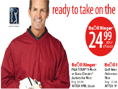 PGA TOUR V-neck or Boca Classics Wind Jackets