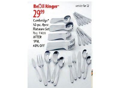 $29.99 Cambridge 65 Piece Apex Flatware Set