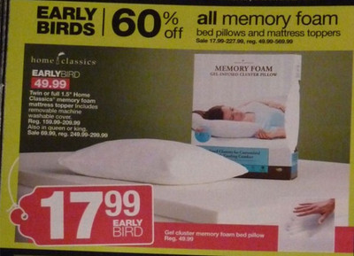 All Memory Foam Bed Pillows and Mattress Toppers 60% OFF