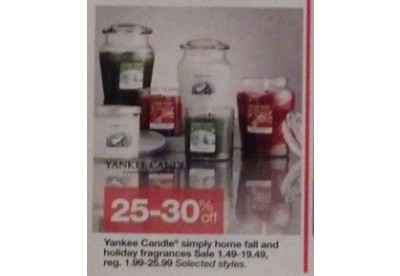 Yankee Candle Fall and Holiday Fragrances 25-30% off