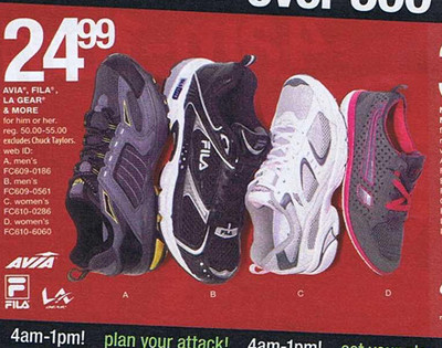 Avia, Fila, La Gear, and More Shoes for Him or Her