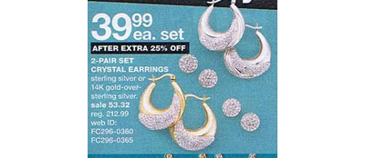 Crystal Earrings 2-Pair Set, Sterling Silver