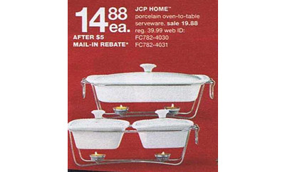 JCP Home Porcelain Oven-to-Table Serverware