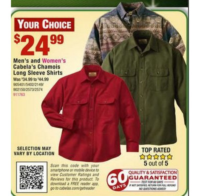 Cabela's Printed Chamois Shirts Regular