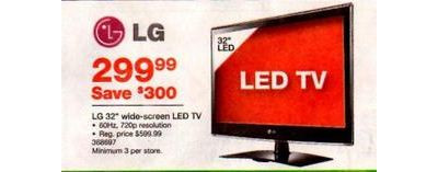 "LG 32"" 720p 60Hz LED TV (Model #368697)"