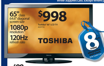 "Toshiba 65"" 1080p 120Hz LCD TV"