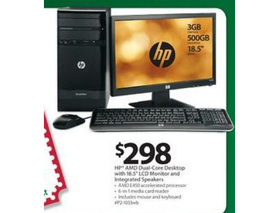 "HP AMD Dual-Core Desktop with 18.5"" LCD Monitor and Integrated Speakers"