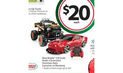 New Bright 1:10 Scale Radio-Controlled Hummer, Ram, Corvette or Mustang