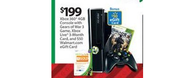 Xbox 360 4GB Console w/ Gears of War 3, Xbox Live 3-Month Card and $50 Walmart GC