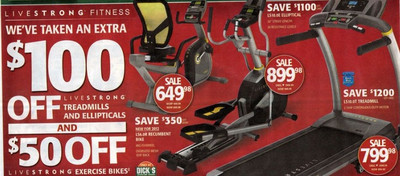 Entire Stock Of Livestrong Ellipticals - $100 off