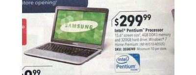 "Samsung Laptop / Intel® Pentium® Processor / 15.6"" Display / 4GB Memory / 320GB Hard Drive"