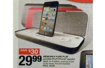 Memorex iPod/iPhone PurePlay Portable System Speaker with Dock