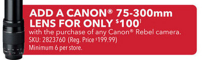 Canon 75 - 300mm Lens (w/ Purchase of any Canon Rebel camera)