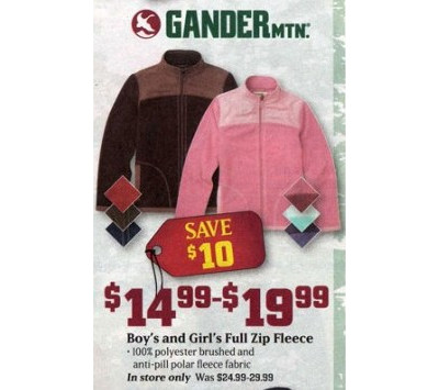 Gander Mountain Girls' Full Zip Fleece $14.99-19.99