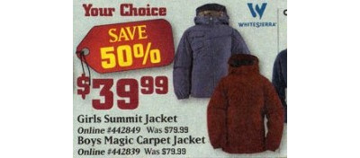White Sierra Girl's Summit Jacket (Thursday Only)