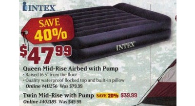 Intex Twin Mid-Rise Airbed w/Pump