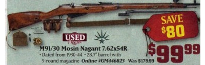 M91/30 Mosin Nagant 7.62x54R Rifle (Saturday Only)