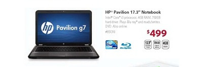"HP Pavilion g7 17.3"" Laptop w/ Core i3, 4GB RAM, 750GB HDD & Blu-ray Player"