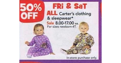 Carter's Clothing & Sleepwear - Entire Stock      - 50% off
