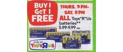 "Toys ""R"" Us Batteries - Entire Stock  - B1G1 Free"