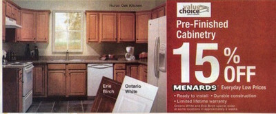 Menards Pre-Finished Cabinetry (Huron Oak) - 15% Off