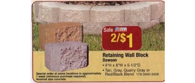 Retaining Wall Block (Dawson) - 2/$1.00
