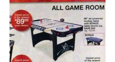 "66"" Air-Powered Hockey Table w/Bonus Table-Tennis Top"