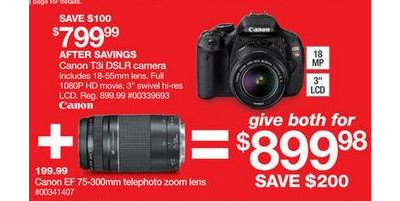 Canon EOS Rebel T3i 18-55mm IS II Digital SLR Camera Kit + Canon EF 75-300mm Telephoto Zoom Lens