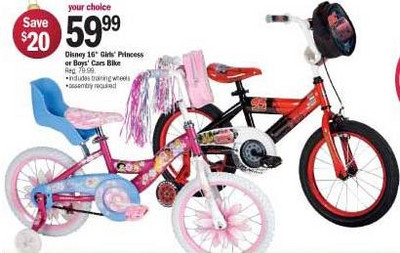 "Disney 16"" Girls Princess or Boy's Cars Bike"