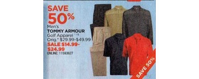Tommy Armour Men's Golf Apparel  $14.99-24.99