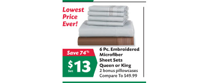 6-pc. Embroidered Microfiber Sheet Set (Queen/King)