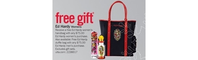 Free Ed Hardy Women's Handbag with any $75 Ed hardy Women's Purchase