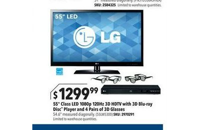 "LG - 55"" Class / LED / 1080p / 120Hz / 3D / HDTV 3D Blu-ray Player Bundle"