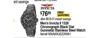 Men's Invicta II 1328 Chronograph Black Dial Gunmetal Stainless Steel