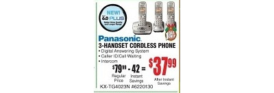 Panasonic KX-TG4023N DECT 6.0 Plus Digital Expandable Cordless Phone with Digital Answering System