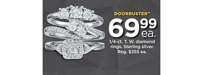 1/4-cttw. Steling Silver Diamond Rings (Assorted)