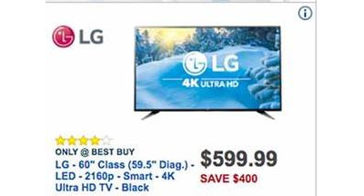 "LG 60"" 4K Smart Ultra HDTV [EarlyBird]"
