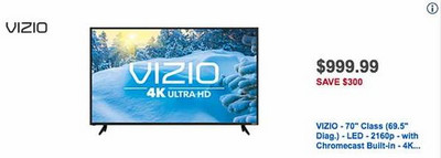 "VIZIO 70"" 4K LED Smart Ultra HDTV w/ Chromecast Built-in�"