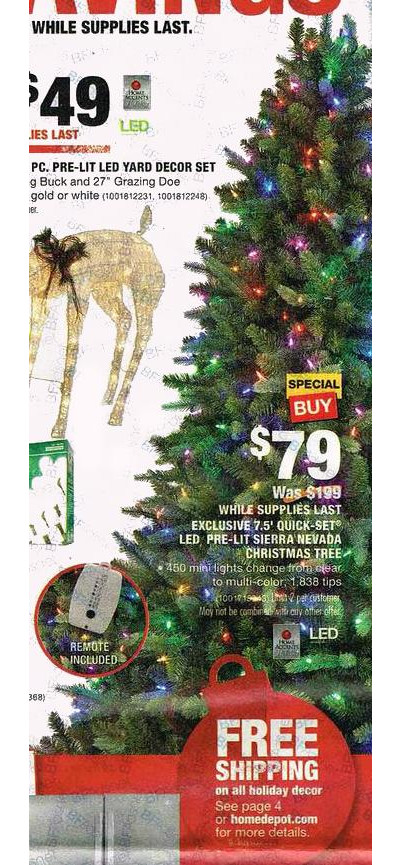 Sierra Nevada 7.5-ft. Quick Set LED Pre-Lit Christmas Tree