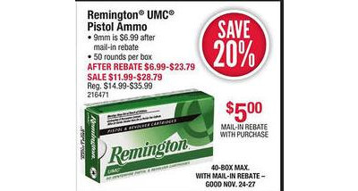 Remington UMC Pistol Ammunition 20% OFF