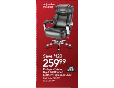 Realspace Axton Big Amp Tall Bonded Leather High Back Chair