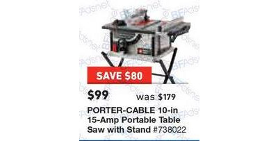Porter cable 10 15 amp portable table saw with stand lowes porter cable 10 15 amp portable table saw with stand greentooth Choice Image