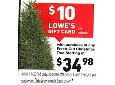 SALE AR Fresh-Cut Christmas Trees Starting at $34.98 ($10 Lowes Gift Card via Rebate)