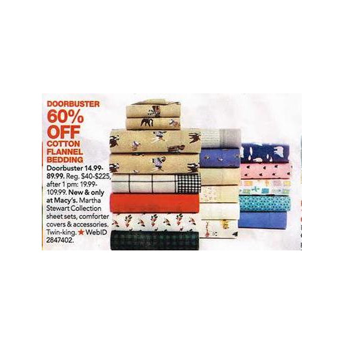Martha Stewart Collection Full Printed Novelty Cotton Flannel Sheet Sets 60% OFF