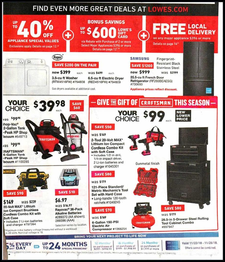 Lowes's Black Friday 2018 Adscan, page 2