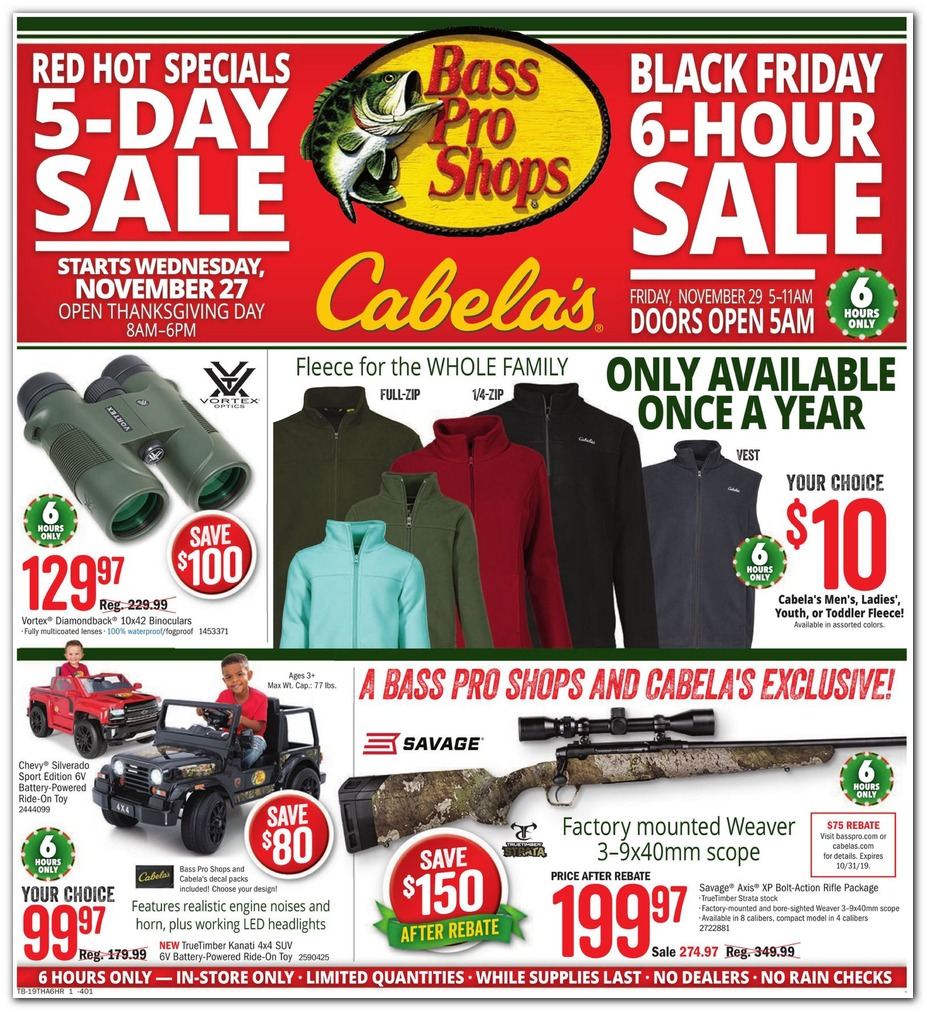 Cabela's's Black Friday 2019 Adscan, page 1