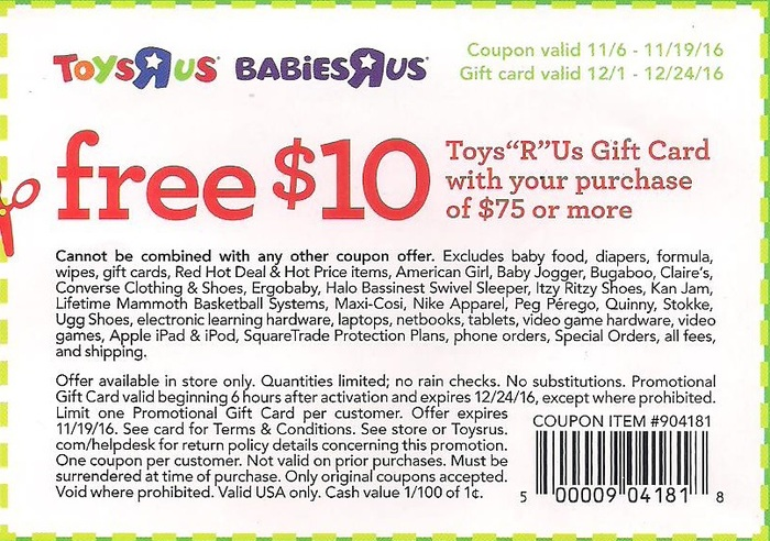 Babies R Us Coupon: Free $10 Gift Card with Your Purchase ...