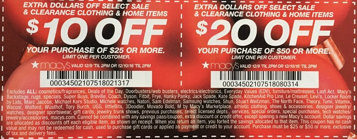 Macy 39 S Coupon 20 Off 50 Or 10 Off 25 Get 10 For Every 12 6 2016
