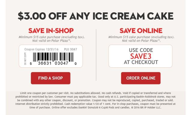 Coupon For Ice Cream Cake At Baskin Robbins